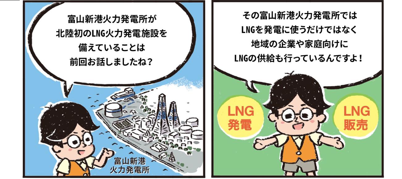 富山新港火力発電所が北陸初のLNG火力発電施設を備えていることは前回お話しましたね?その富山新港火力発電所ではLNGを発電に使うだけでなく地域の企業や家庭向けにLNGの供給も行っているんですよ!